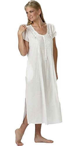- La Cera Women's Lace-Trim Short Sleeve Gown M White