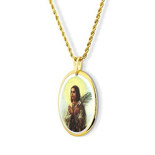 Pingente Medalha Santa Maria Goretti Ouro