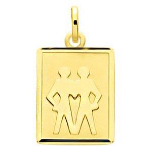 So Chic Bijoux © Pendentif Zodiaque Plaque Rectangulaire Signe Astrologique  Gémeaux Or Jaune 750 000 663b571cbc3b