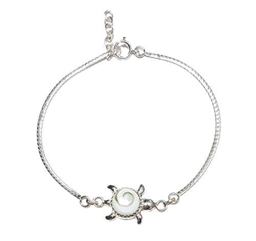 Moks 925 Sterling Silver Turtle Elegant Bracelet Adjustable Cable Chain for Ladies Girls
