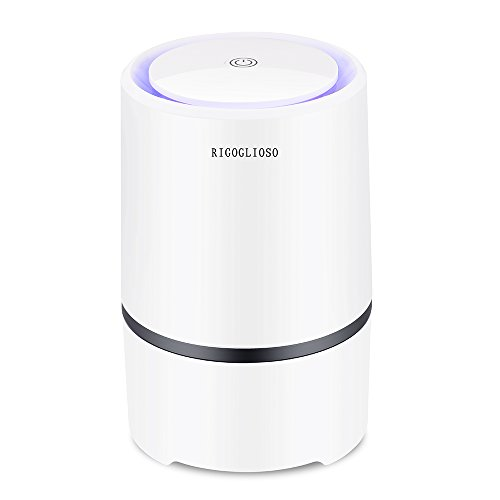 RIGOGLIOSO Air Purifier for Home with True HEPA Filters, 2019 Upgraded Design Low Noise Portable Air Purifier with Night Light,Desktop USB Air Cleaner, Air Ionizer Freshener.