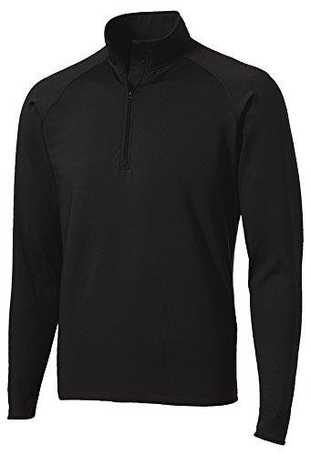 Dri-Equip Moisture Wick Stretch 1/2-Zip Pullover Sweatshirt-M-Black