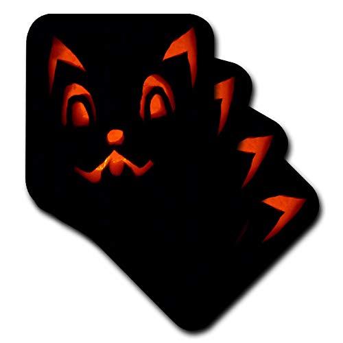 3dRose Sandy Mertens Halloween Designs - Cat Jack o Lantern Face Black Background Halloween, 3drsmm - set of 8 Coasters - Soft (cst_290239_2)