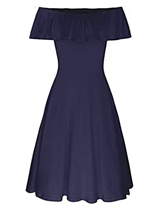 STYLEWORD Women's Summer Off Shoulder Casual Party Dress(Navy,S)
