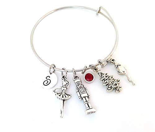 Nutcracker Ballet Personalized Silver Bangle Bracelet - Dance Recital Jewelry
