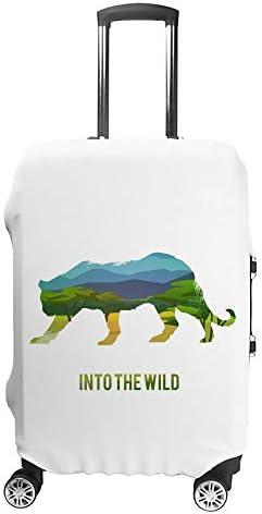 スーツケースカバー トラベルケース 荷物カバー 弾性素材 傷を防ぐ ほこりや汚れを防ぐ 個性 出張 男性と女性チーターのシルエットのある風景します