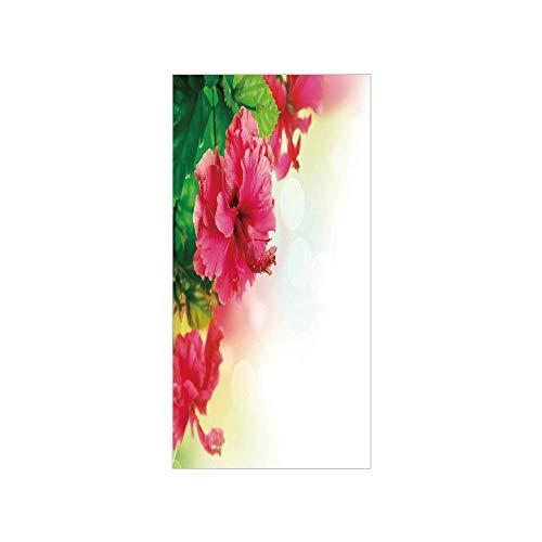 3D Decorative Film Privacy Window Film No Glue,Floral,Hibiscus Flower Florets Buds Leaf Essence Fragrance Blossoms Garden Image,Hot Pink Fern Green,for Home&Office