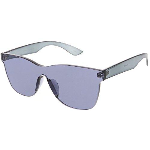 sunglassLA - Rimless Horn Rimmed Mono Block Sunglasses With Colorful One Piece PC Lens 68mm - Mono Lens