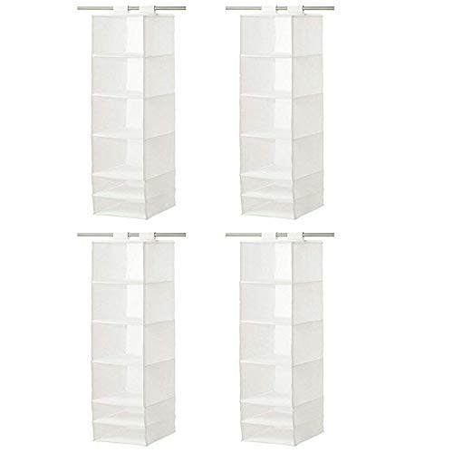 IKEA Organizer Hanging 6 Compartment Storage Closet, White (Set of 4, 13 ¾x17 ¾x49 ¼, White)