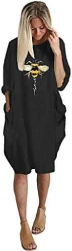 Mayunn Womens Summer Long Sleeve Printed Mini Dress Short Dress(Bee)