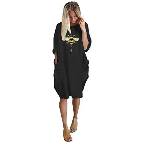 Bee Fancy Dress - Mayunn Womens Summer Long Sleeve Printed