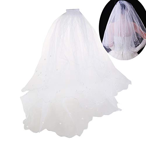 80CM Long Double Layer Pearls Beaded Wedding Bridal Veil Mantilla with Comb,Beige