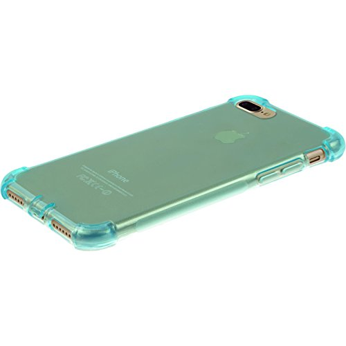 PhoneNatic Case für Apple iPhone 8 Plus Hülle Silikon blau Shock-Proof Cover iPhone 8 Plus Tasche + 2 Schutzfolien