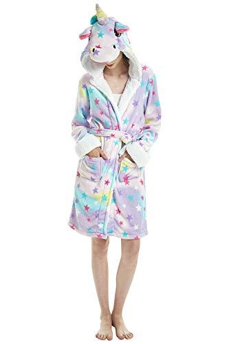 JOXJOZ Women's & Men Unicorn Hooded Bathrobe Soft Fleece Sle