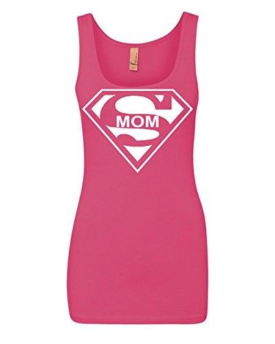 Super Mom Funny Women's Tank Top Superhero Parody Mother's Day Top Pink