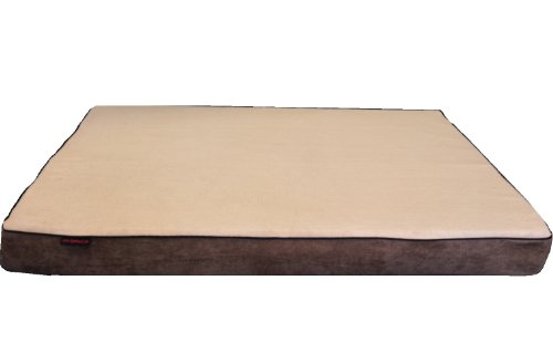 "ehomegoods 41""X27""X4"" Beige color Gusset Style Orthopedic Waterproof Memory Foam Pet Pad Bed for Medium Large dog crate size 42""X28"" with 2 external covers"