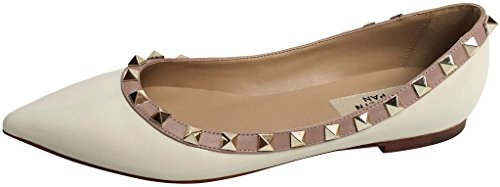 Studded Nude Studs Toe Flats Leather Pan Patent Trim Pointed Gold Ivory Ballerina Kaitlyn 1qx7tzEn