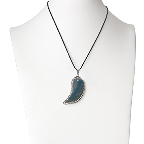 (ART KIM Crystal Sickle Shape Moon Water Ripple Pave with Rhinestone Agate Necklaces (Sky Blue))