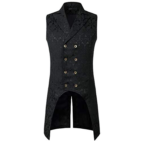 Men Sleeveless Lapel Collar Double-Breasted Steampunk Gothic Jacquard Coat Vest ()