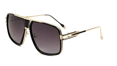 Black Smoke Flash Mirror Lens - Gazelle Tycoon Aviator Sunglasses w/ Multicolor Lenses (Black & Gold, Smoke)