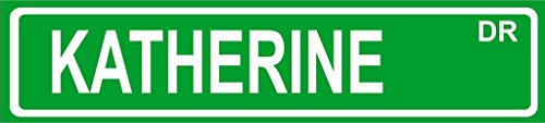 KATHERINE Green Aluminum Street sign 4''x18'' great Décor for any room girls name by Any and All Graphics