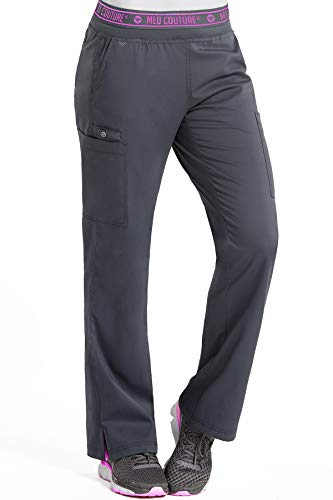 Med Couture Touch Women's Yoga 2 Cargo Pocket Scrub Pant, Small, Pewter from Med Couture