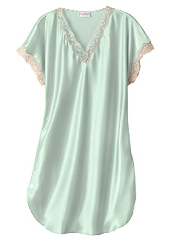 (Shadowline Women's Plus Size Charming Satin Chameuse Sleepshirt, Mint, 3X)