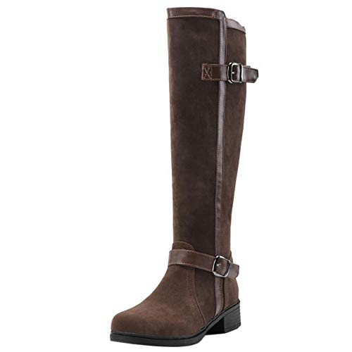 Women Block Zipper Knee Heel Brown Coolcept Boots UawHqwx