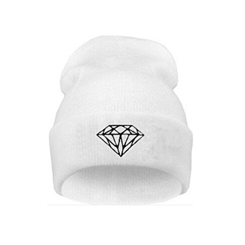 MuLuo Knitting Men Women Cap Diamond Pattern Beanies Winter Wool Hats White