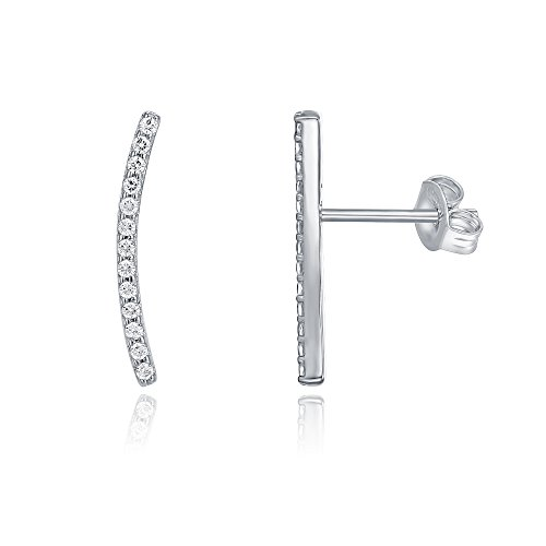 PAVOI 14K Gold Plated Ear Crawler - Cuff Earrings Hypoallergenic Sterling Silver Stud Ear Climber Jackets - White