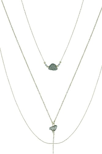 Mina Gold Delicate Triple Precious Raw Stone and Beaded Layered Drop Lariat Necklace (Triple Layered Necklace)