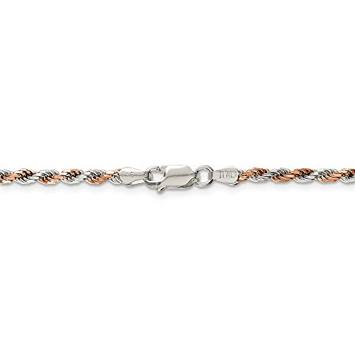 Jewelry Stores Network Sterling Silver 2.5 mm Rose Vermeil Rope Chain Bracelet - 8 (Rose Vermeil Rope Chain)