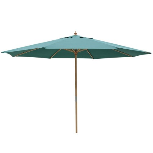 13-Ft Green Polyester Outdoor Market Patio Umbrella Sturdy Sycamore Wood 8-rib Pole w/ Pulley Rope UV Protect for Overhead Cover Canopy Furniture Sunshade