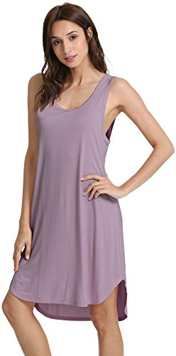 WiWi Womens Soft Bamboo Nightgowns Sleeveless S-4XL, Violet, 4X-Large]()