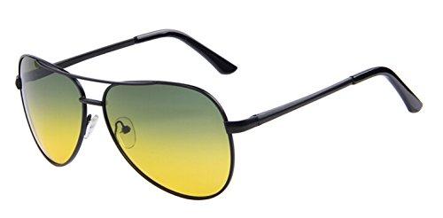 world-palm Men Polaroid Sunglasses Night Vision Driving 100% Polarized Sunglasses,C01 Black ()