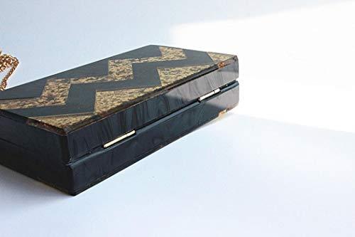 Purse Design for Geometric Box Black Handbags Women Acrylic Clutch EROGE Colorful Perspex qRHSSw1