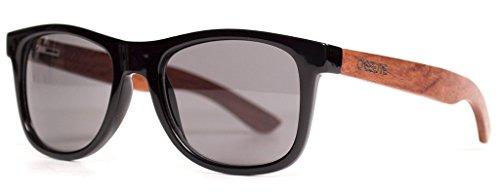 The Cassette Company Yo Lacewood/Smoke Polarized Lens, Black & - Sunglasses Cassette
