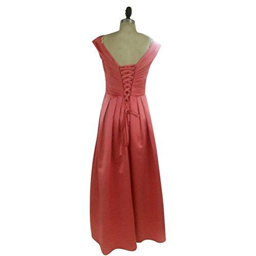 Ausschnitt Linie Kleid Prom Brautjungfer ärmellos Satin Abendkleid fur V Langes Damen A Traube Elegantes Aiyana Hochzeit 8waEq7v