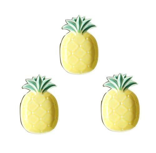 Astra Gourmet Set of 3 Ceramic Pineapple Shaped Dip Condiment Bowls/Trinket Dish/Small Snack Sugar Dessert Serving Plates