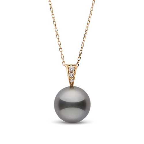 Diamonds 12mm Tahitian Pearl Pendant - Desire Collection 11.0-12.0 mm Tahitian Cultured Pearl and Diamond Pendant - Yellow Gold - 18 Inch