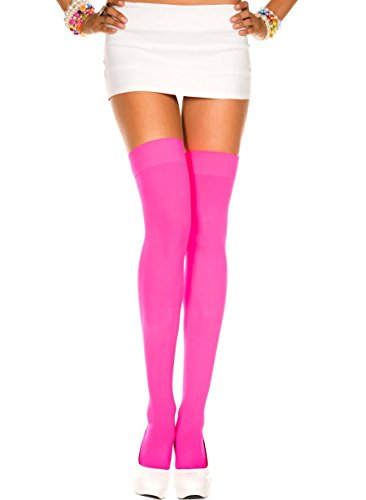 opaque thigh hi (ONE SIZE, Hot Pink) (Corset Bustier Panty)