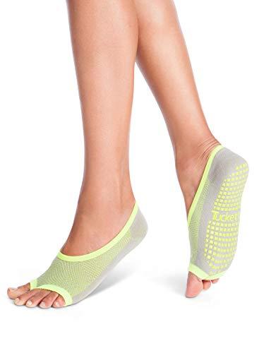 Tucketts Womens Pilates Socks, Toeless Yoga Non Slip Skid Grip Low Cut Socks for Barre, Studio, Bikram, Ballet, Dance - Ballerina Style (Grey/Lime Geo)