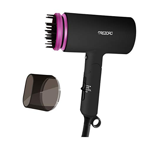 Professional Ionic Portable Folding Hair Dryer, Best 1500W Ceramic Tourmaline Blow Dryer with comb attachment, Compact Small Size Lightweight for Travel, Quiet Mini Hairdryer - Deluxe Soft Touch Body (Super Mini Travel Hair Dryer)