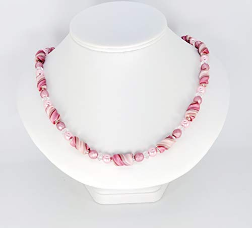 Light and Deep Pink White Handcrafted Twist Bead Necklace Polymer Clay Glass Beads Magnetic Clasp Lovely to Wear