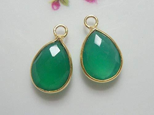 - 2 pcs, 16x10mm, Tear Drop Green Onyx Gold Vermeil Sterling Silver Bezel Charm Pendant Finding, GO
