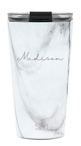 Simple Modern Personalized Gift Tumbler Custom, Classic 16oz - Clear Lid, Pattern: Carrara Marble