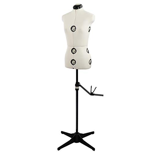13 Dials Mannequin Dress Form with Tri-Pod Stand, Adjustable Pinnable Female Torso Body for Sewing, Dressmakers Up to 69 Inch Shoulder Height (Small)