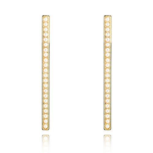 Bracet Punk Gold Color Pearl T bar Stud Earring for Women Girls Metal Long Bar Pendant Decorated Earrings Party Jewelry
