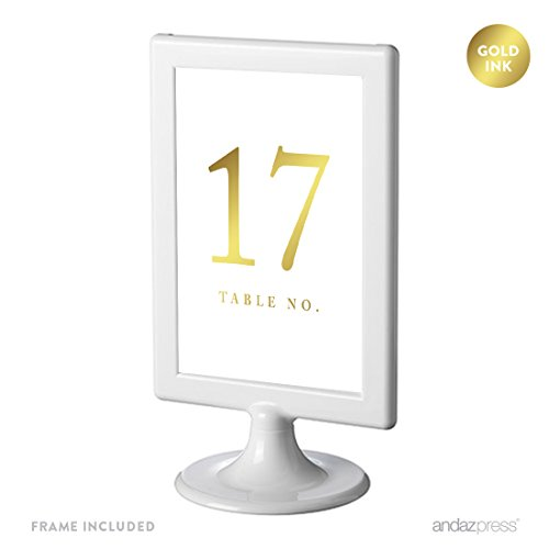 Andaz Press Framed Double-Sided Table Numbers 17-24, Metallic Gold Ink, 1-Set, 4x6-inch, Includes Frames