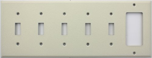 Ivory Wrinkle 6 Gang Wall Plate - 5 Toggle Switches 1 Single GFI/Rocker Opening (Ivory Plate Toggle)